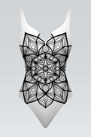 swimsuit with mandala ornament. fashion vector illustration