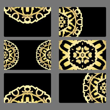 Set business card. Vector mandala decor. arabic, indian, ottoman motifs. for invitation, flyer, card Illustration