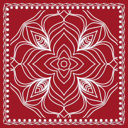 pattern with floral mandala, decorative border. design for print fabric, bandanna. Ornamental Vector Background. red color Illustration