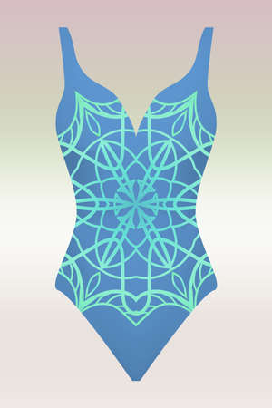 swimsuit vector illustration with print mandala Иллюстрация
