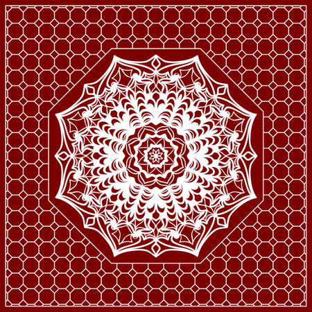 Red mandala background with geometric pattern and ornate lace frame.