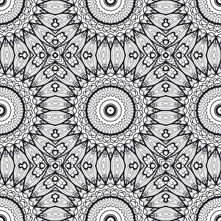 Floral Geometric Line seamless Pattern. Illustration. For fabric print, textile, background