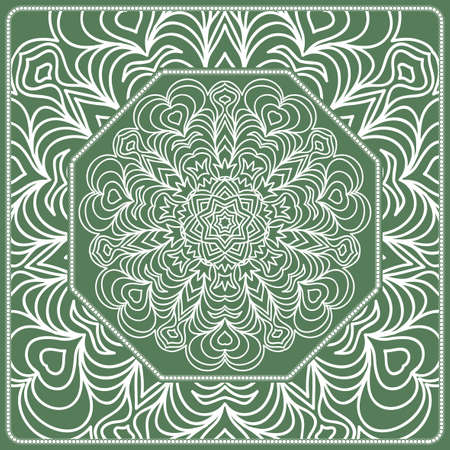 Openwork geometric Pattern for Print. Vector illustration. Green color.