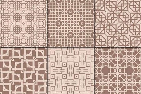 Set of 6 geometric seamless pattern. vector illustration. modern ornament. skin tone color