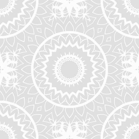 Monochrome seamless vector pattern with abstract circle floral ornament Stock Illustratie