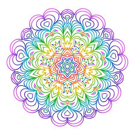 Mandala for relaxation. Rainbow color illustration of rosette. Symmetrical pattern. Vector illustration