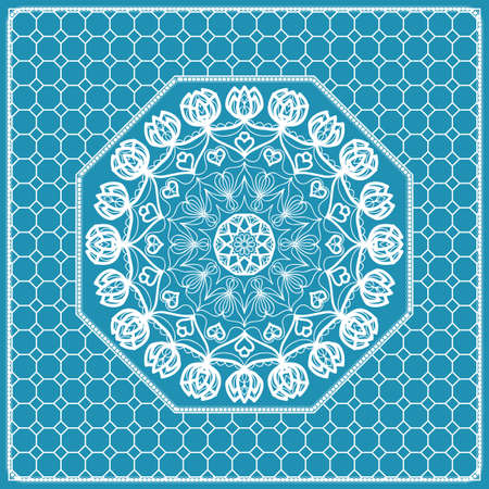 Design print with a Geometric Flower Pattern from Mandala. Vector illustration. Blue color. For Print Bandana, Nashnoy Shawl, Carpet, pillow