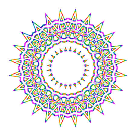 Beautiful Vector Mandala. Rainbow color on white. Vector illustration. Patterned Design Element. Vectores
