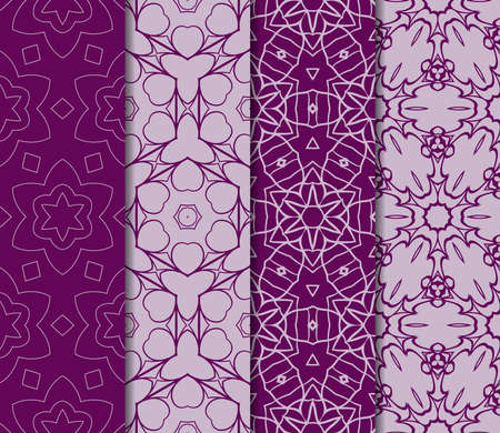 Set of seamless pattern of royal purple color.