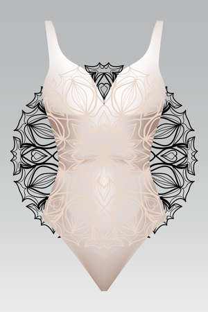 Summer swimsuit with mandala ornament.