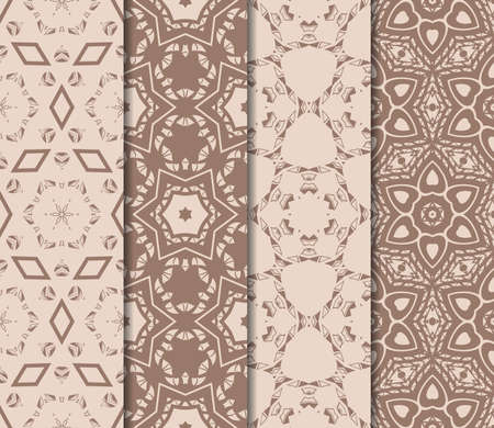 set of 4 creative geometric seamless pattern. vector illustration. beige color. for interior design, wallpaper, invitation