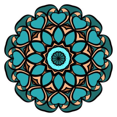 Decorative flower mandala design. Vector round pattern. Coloring. Design for greeting card, invitation, tattoo.