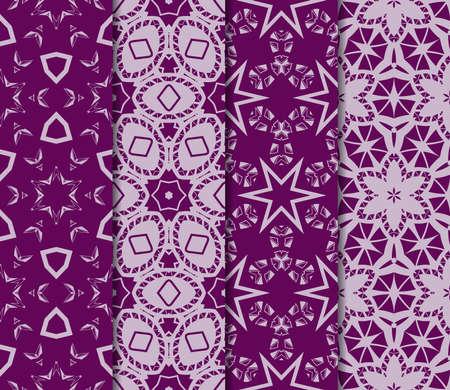 conjunto de 4 Textura de vector transparente con un patrón abstracto de curvas entrelazadas, formas geométricas en estilo floral. Para el diseño de tarjetas de felicitación, paquetes de regalo, industria textil. color púrpura Ilustración de vector