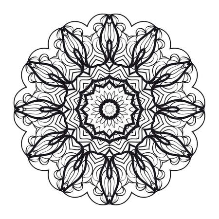 Round ornament with geometric floral mandala. Vector illustration.