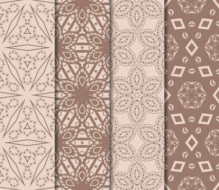 Set of beautiful seamless pattern with transformed geometric shape. Abstract vector illustration. design for prnt, paper and scrapbooking. Skin tone color  イラスト・ベクター素材