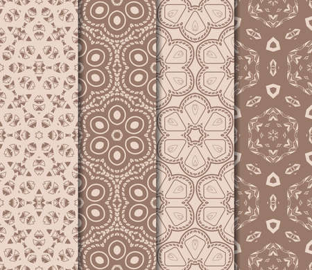 Set of beautiful seamless pattern with transformed geometric shape. Abstract vector illustration. Design for print, paper, scrap booking. Skin tone color.  イラスト・ベクター素材