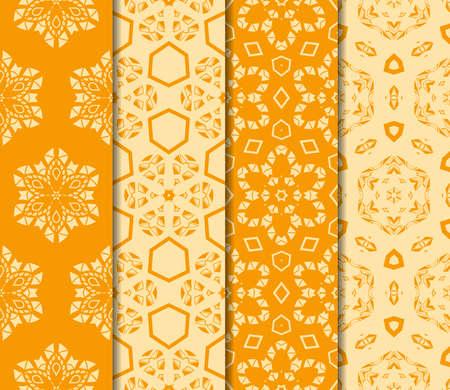 set of floral ornament. seamless vector pattern. interior decoration, wallpaper, invitation, fashion design. orange color Foto de archivo - 98874614