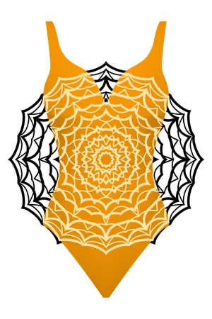 Design swimsuit with mandala ornament. fashion vector illustration in orange color