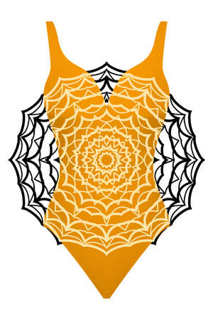 Design swimsuit with mandala ornament. fashion vector illustration in orange color