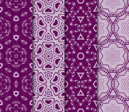 Conjunto de textura de vector transparente con un patrón abstracto de curvas entrelazadas, formas geométricas en estilo floral para el diseño de tarjetas de felicitación, paquetes de regalo e industria textil en color morado