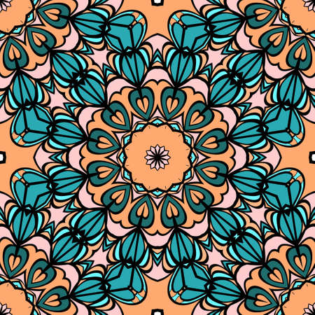 Decorative seamless background with floral theme. Vector illustration