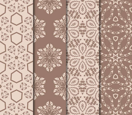 Set of beautiful seamless pattern with transformed geometric shape. Abstract vector illustration. design for prnt, paper and scrapbooking in skin tone color.