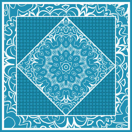 Design print for Pillow. Vector Illustration. Pattern with Geometric Lace Floral Ornament for fabric, textile, bandana, scarg and carpet print in blue color.