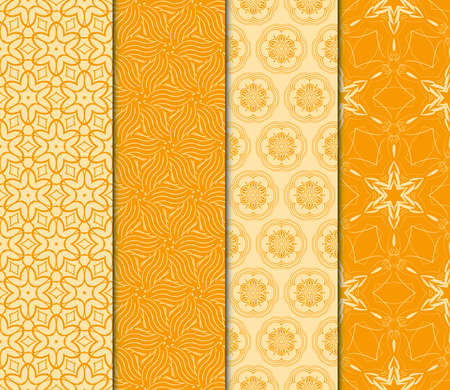 Set of 4 Seamless pattern in geometric floral style. vector illustration. orange color