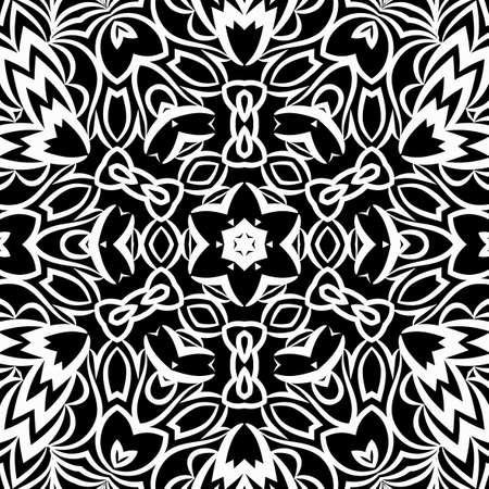 Floral mehendi pattern vector illustration. Hand drawn henna India tribal paisley background.