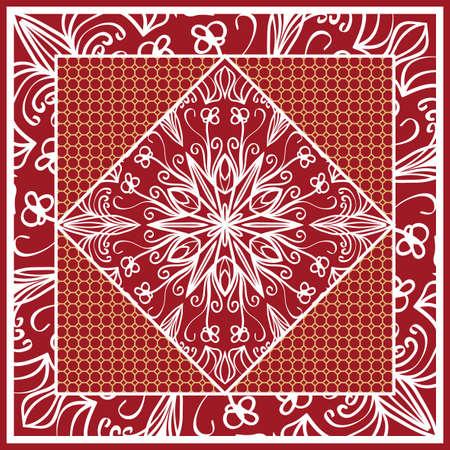 Design of scarf with mandala flower pattern vector illustration. Red color for print bandana, shawl, carpet.
