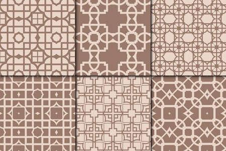 Set of 6 geometric seamless pattern vector illustration, modern ornament skin tone color. Ilustração