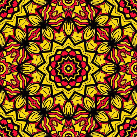 Bright sun color background with mandala ornament vector illustration seamless pattern.