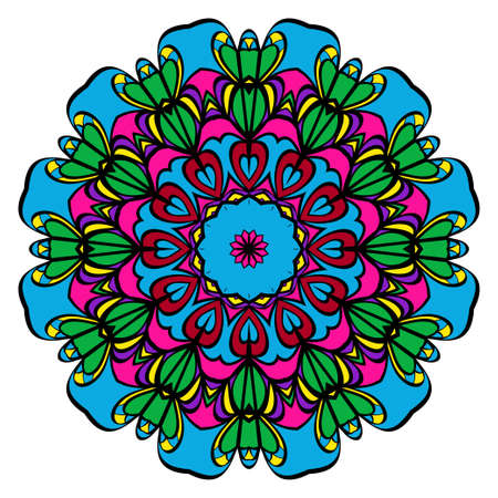 Color sticker with floral mandala. vector illustration for greeting card, invitation, tatto and spa.