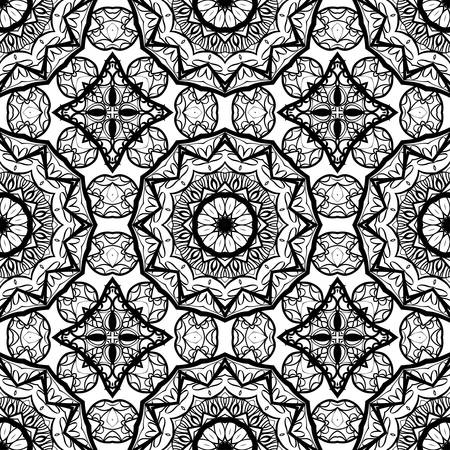 Seamless background with modern design. Floral mandala ornament in black and white color. Vector design element for print, fabric and wallpaper. Фото со стока - 98857535