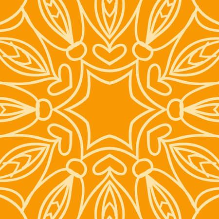 Bright orange background with mandala ornament. vector illustration.