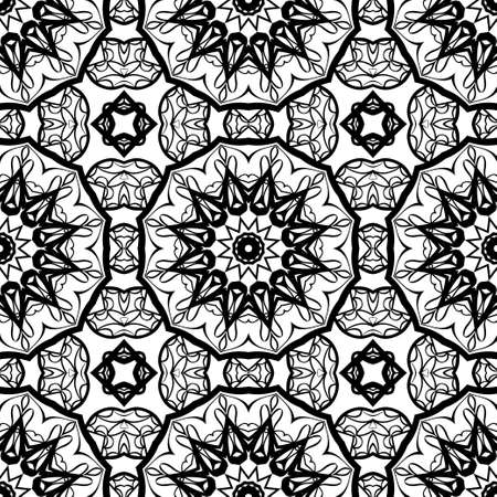 Seamless background with modern design. Floral mandala ornament in black and white color. Vector design element for print, fabric and wallpaper.