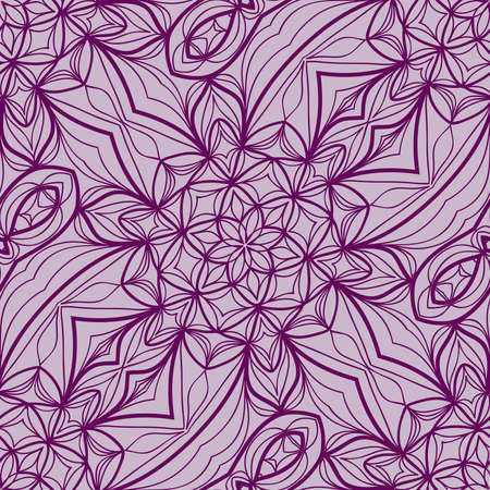 Lace floral seamless pattern. Decorative beautiful ornament with hand drawn elements. Vector illustration in purple color.