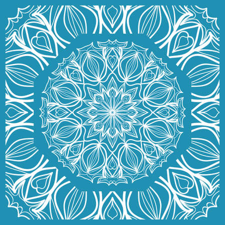 Floral Paisley Medallion Ornamental Rug. Ethnic Mandala Frame. Fabric, greeting card, coloring book, phone case print. Vector illustration in blue color.