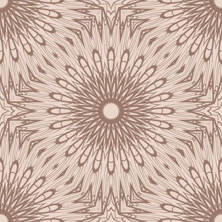 Vector seamless pattern with mandala floral elements. beige color