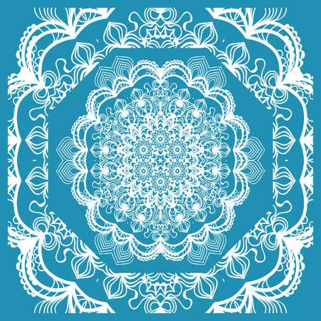 Floral Paisley Medallion Ornamental Rug. Ethnic Mandala Frame.  Vector illustration. Blue color