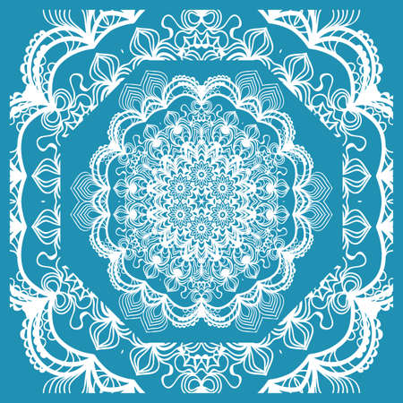 Floral Paisley Medallion Ornamental Rug. Ethnic Mandala Frame.  Vector illustration. Blue color