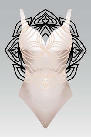 summer swimsuit with modern design beige color mandala ornament. fashion vector illustration. for design summer cloth. mandala black color background layer