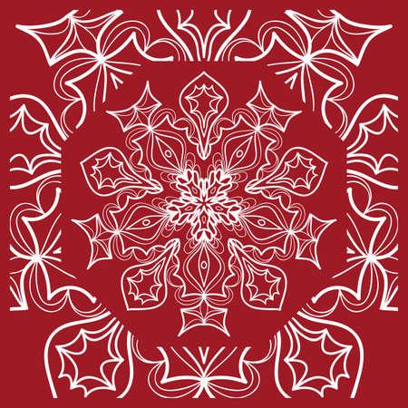 Mandala pattern Print Textile Product. Vector illustration. Decorative curb treatment. Red color