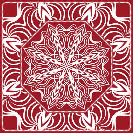 Mandala pattern Stampa prodotto tessile. Illustrazione vettoriale Trattamento di cordolo decorativo. colore rosso Archivio Fotografico - 98845587
