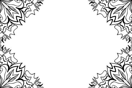 A creative invitation card with mandala elements border on black and white color.