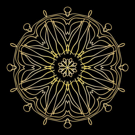 Black background with gold color mandala ornament. Vector illustration. Illustration