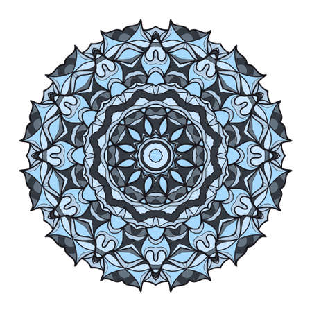 Flower blue coloring Mandala. Modern decorative elements. Oriental round pattern, vector illustration.