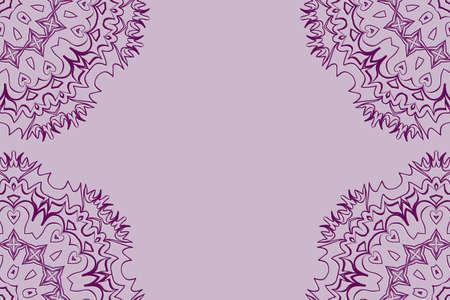 Wedding invitation card with mandala background. purple color, fashion design