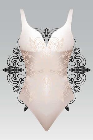 Summer swimsuit with modern design beige color mandala ornament. fashion vector illustration. For design summer cloth, mandala black color background layer. Illustration