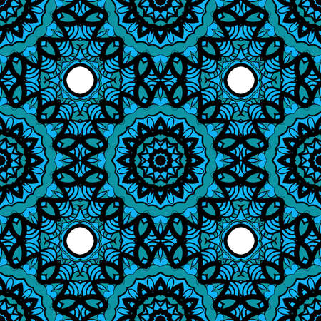 Oriental design with seamless Mandala illustration vector illustration on blue color